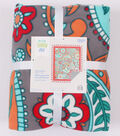 No-Sew Throw Fleece Fabric 72\u0022-Gray Aqua Red Paisley Floral