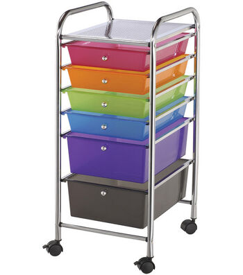 Storage Cart with 6 Drawers-Multi-Color