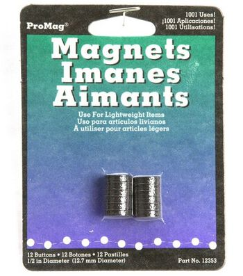 Flexible Magnetic Buttons-1/2  12/Pkg