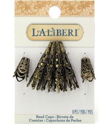 Laliberi Flowers And Brass Long/Short Bead Caps 8/Pkg