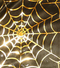 Halloween Fabric - Spider Web Bodre Gold