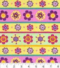 Snuggle Flannel Fabric 42\u0022-Flower Power Stripe