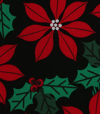 Holiday Showcase™ Christmas Cotton Fabric 43''-Poinsettia & Holly on Black