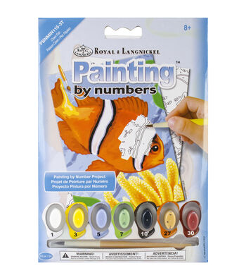 "Royal Brush  Mini Paint By Number Kit 5""X7""-Clown Fish"