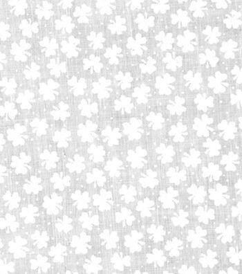 St. Patrick's Day Lucky Irish Print Fabric 43''-White Shamrocks