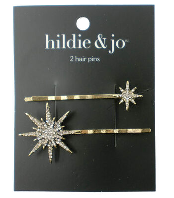 hildie & jo 2 Pack Gold Hair Pins-Clear Round Crystals Stars