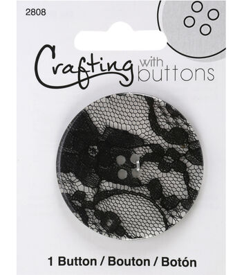 Crafting with Buttons Black & White 2'' Lace Button-Black