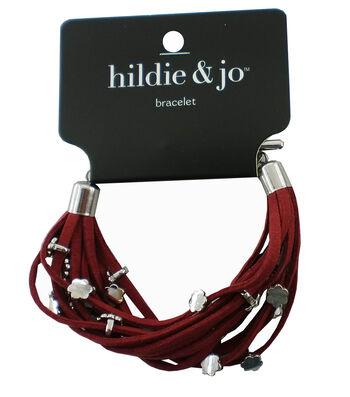 hildie & jo™ Burgundy Bracelet-Silver Flowers