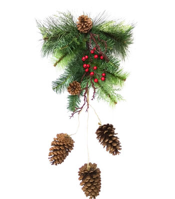 Blooming Holiday Christmas Berry, Pinecone & Greenery Wall Decor