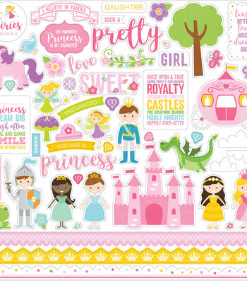 "Perfect Princess Cardstock Stickers 12""X12""-Elements"