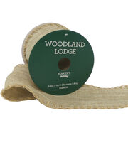 Maker's Holiday Woodland Lodge Linen Ribbon 2.5''x25'-Stitch Beige Edge, , hi-res