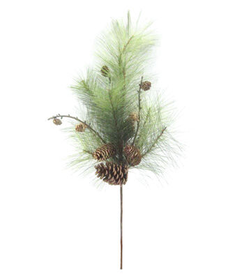 Blooming Holiday 26'' Long Needle Pine & Pinecone Spray-Green & Brown