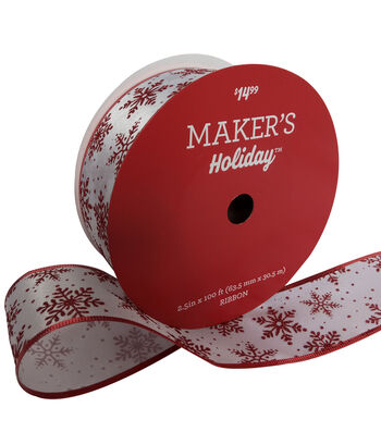 Maker's Holiday Christmas Value Ribbon 2.5''x100'-Red Snowflake on White