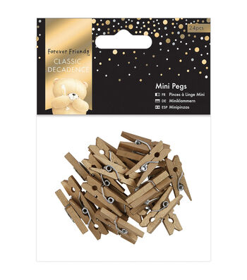 Docrafts Forever Friends Classic Decadence 24ct Mini Pegs-Gold