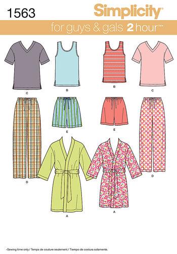 Simplicity Pattern 1563A Adult & Teens' Sleepwear-Size XS-S-M-L-XL