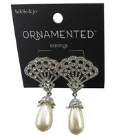 hildie & jo™ Ornamented 2''x1'' Silver Earrings-Pearl Teardrop, , hi-res