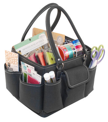 ScrapEssentials Mini Tote-Grey & White
