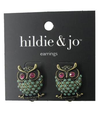 hildie & jo™ Owl Gold Earrings-Green, Pink & Gray Stones