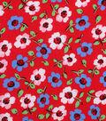 1930\u0027s Cotton Fabric 43\u0027\u0027-Painted Florals on Red
