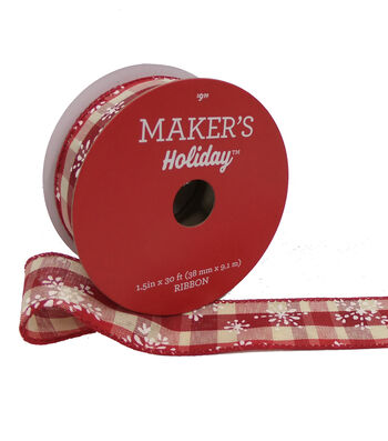 Maker's Holiday Ribbon 1.5''x30'-Snowflake on Beige & Red Plaid