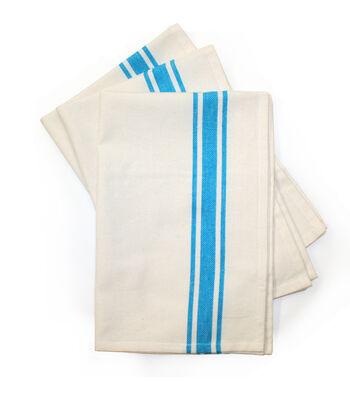 Stitch 'Em Up 3 Pack 18''x28'' Retro Towels-Turquoise Stripe