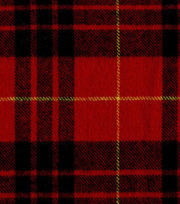 "Flannel Shirting Fabric 41""-Red Black Yellow"
