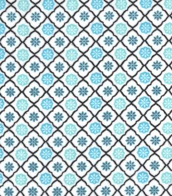 "3 Yard Pre-Cut Snuggle Flannel Fabric 42""-Peacock Trellis Geo"