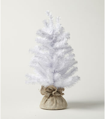Blooming Holiday Christmas 18'' PVC & Burlap Norway Spruce Tree-White