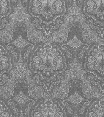 Vintage Cotton Fabric 43''-Tonal Gray Damask