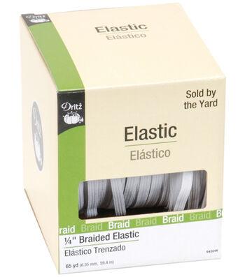 Dritz Braided Elastic White 0.25'' Wide x 65Yds