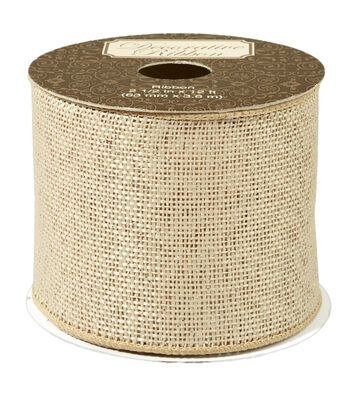 "Decorative Ribbon 2.5"" Natural Burlap Ribbon-Silver Metallic Overlay"
