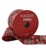 Maker's Holiday Christmas Ribbon 2.5''x25'-Snowflake on Plaid, , hi-res