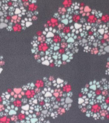 "Blizzard Fleece Fabric 59""-Heart Cluster Paw Prints"