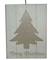 Maker's Holiday Christmas Wall Decor-Glitter Tree & Merry Christmas, , hi-res