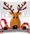 Reindeer With A Red Scarf I Cushion Cross Stitch Kit