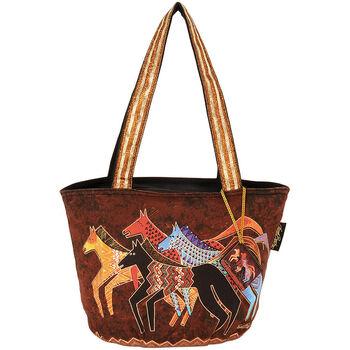 """Laurel Burch Medium Tote Zipper Top 13.75""""x6""""x9.75""""-Native Horses"""