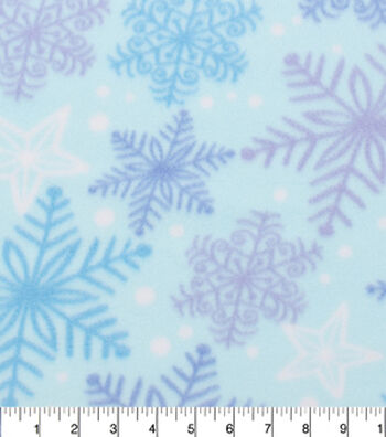 "Blizzard Fleece Fabric 59""-Snowflake Blue Purple"