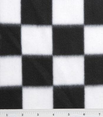 """Blizzard Fleece Fabric 59""""-Black and White Check"""