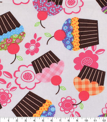 """Novelty Cotton Fabric 43""""-Cupcakes And Flowers"""