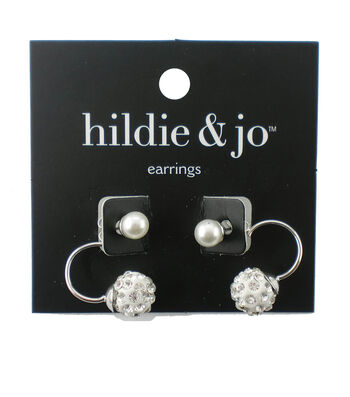 hildie & jo™ Silver Earrings-Pearl Bead with Clear Crystals