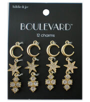 hildie & jo™ Boulevard 12 Pack Moon & Star Gold Charms-Crystals, , hi-res