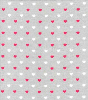 "Nursery Flannel Fabric 42""-Sweet Pink Grey Hearts"