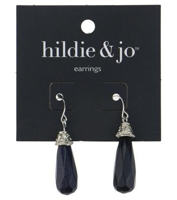 hildie & jo™ Silver Dangle Earrings-Black Drop