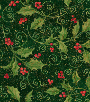 "Maker's Holiday Cotton Fabric 43""-Holly Vine"