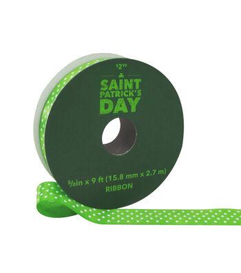 St. Patrick's Day Ribbon 5/8''x9'-White Polka Dots on Green