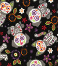 Doodles Halloween Interlock Cotton Fabric 57\u0022-Day Of The Dead Cats Dogs