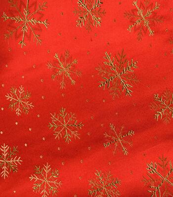 "Sew Sweet Brocade Snowflake Fabric 45""-Red & Gold"