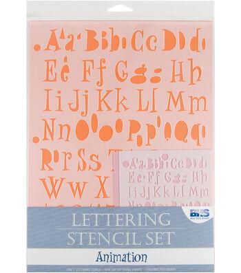 Blue Hills Studio  Lettering Stencil 4 Piece Sets-Animation