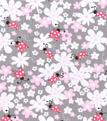 """Nursery Flannel Fabric 42""""-Lady Bug Floral"""