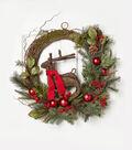 Blooming Holiday 26\u0027\u0027 Grapevine Reindeer, Berry, Ball & Pinecone Wreath